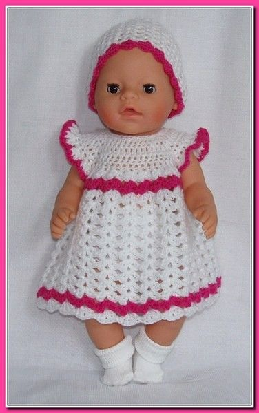Gehaakt Jurkje Met Muts Wit Roze Haken Babyborn