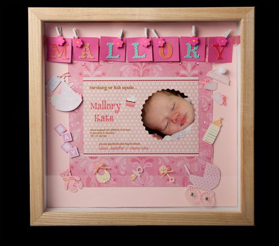 Birth Announcement Shadowbox Keepsake Frame by LittleFrenchHenCK – Personalized Baby Announcement Gifts