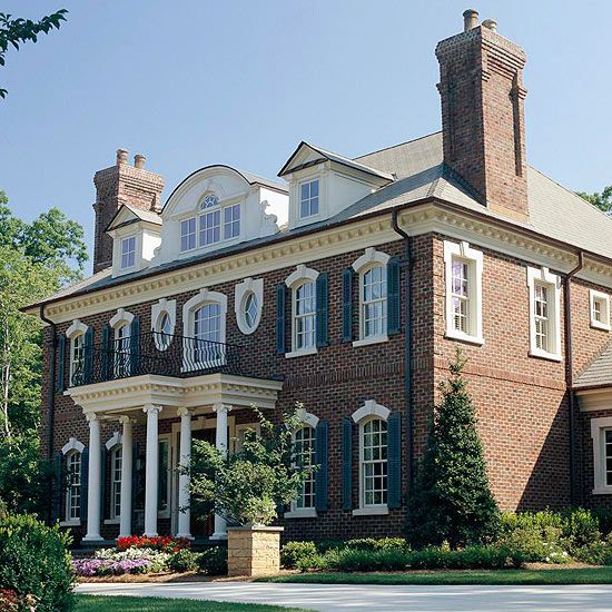 Brick siding ideas beautiful four square and iron gates for Beautiful classic houses