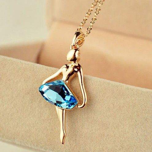 The Golden Dancing Girl With Blue Diamond Women's Fashion Necklace - USD $50.95