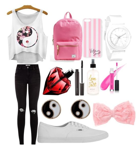 Back to school outfit for middle school #4 by shamya2003 on Polyvore featuring polyvore, fashion, style, Vans, Herschel Supply Co., Nixon, Accessorize, Victoria's Secret and Laura Mercier