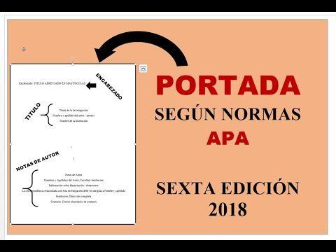 Word Portada Según Normas Apa Sexta Edición 2018