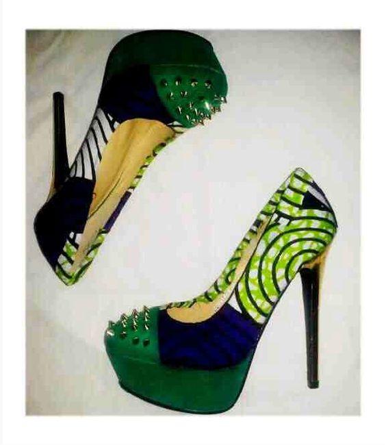 African Print Heels by Zuwa Re♥ ~African Prints, African women dresses, Kitenge, Ankara, Kente, African fashion styles, African clothing, Nigerian style, Ghanaian fashion ~DK