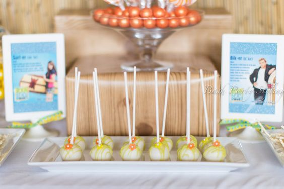 Cute cake pops at a Beach party!  See more party ideas at CatchMyParty.com!  #partyideas #beach