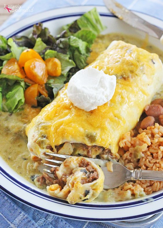 Dinner idea: Green Chile Smothered Burrito Recipe. This beef and potato filling and green chile sauce combo is a knockout!
