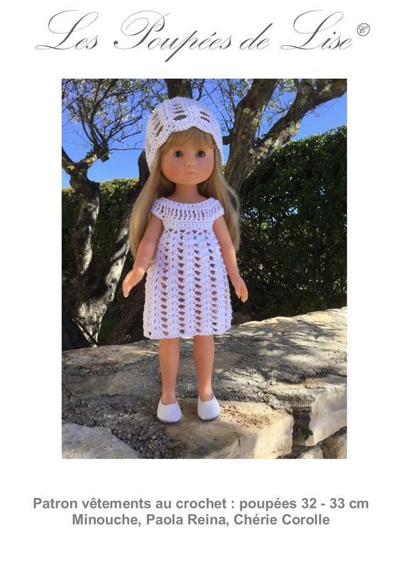 Robe et bonnet ajouré au crochet pour poupée Chérie Corolle, Paola Reina, Minouche Patron sur Ebay