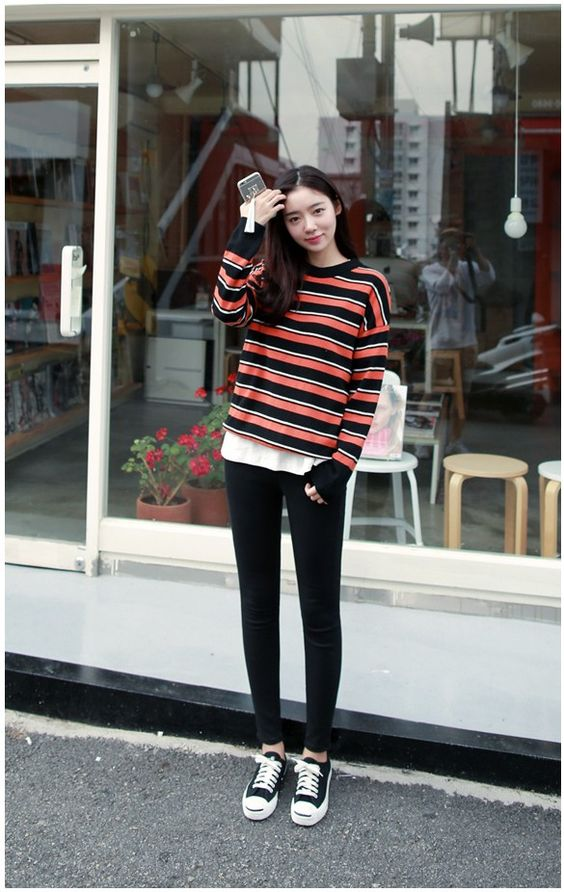 Korean Fashion Stripes And Knits On Pinterest
