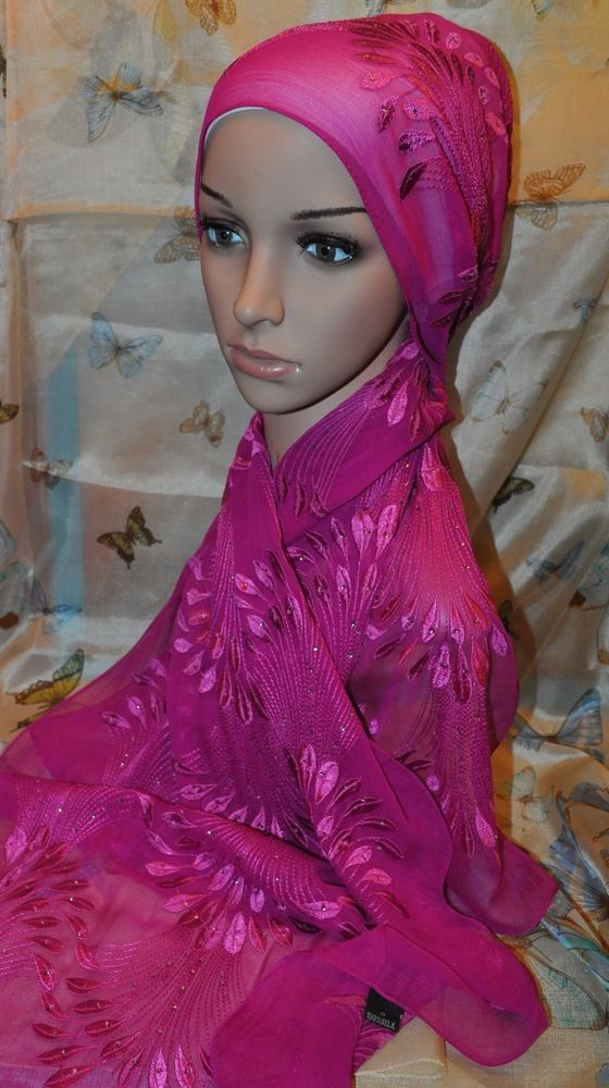 Free S&H New  Embroidered Silk Scarf Shawl Wrap Hijab Peacock Fuchia Rhinestones #SilkStory #ShawlHijab