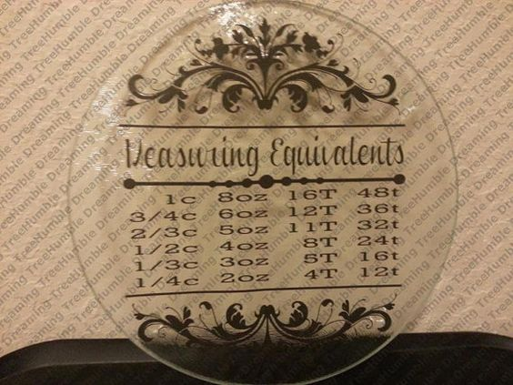 Measurement Equivalent Glass Cutting Board by HumbleDreamingTree, $25.00