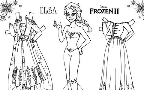 Frozen 2 Coloring Paper Dolls Of Elsa And Anna In 2020 Paper Dolls Paper Doll Template Frozen Paper Dolls