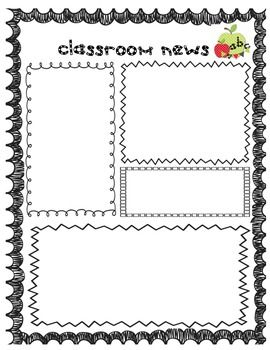 Back to school weekly newsletter and homework templates