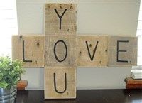 """Scrabble Love You16.5""""H x 22""""L. $25Acrylic paint, reclaimed wood, nails, hanging mechanisms"""