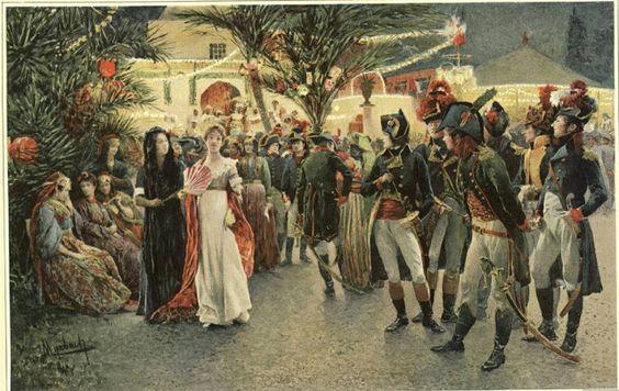 Bonaparte, Kleber, Eugene de Beauharnais, Lasalle, and Junot at the Tivoli Gardens in Cairo.: