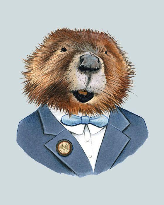 Etsy の Beaver art print 8x10 by berkleyillustration