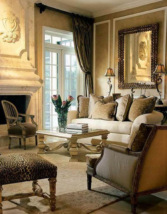 Curtains Couch Formal Browns Living Room Like The Color Scheme But Is A Bit Too Fancy