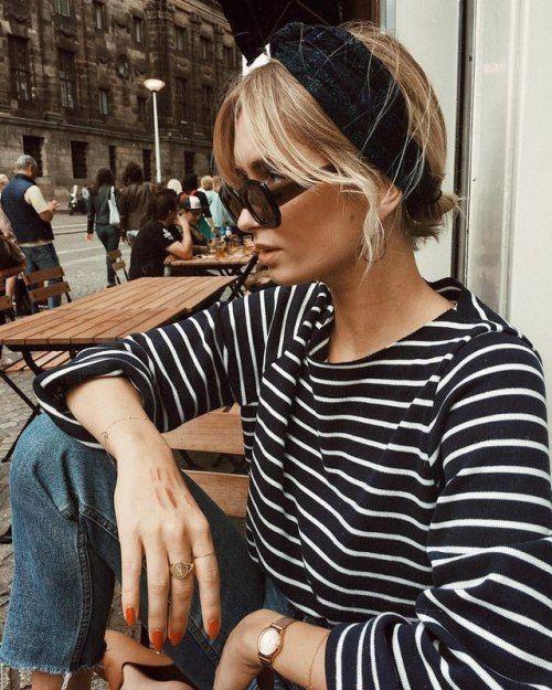 #stripes and a cute head scarf...