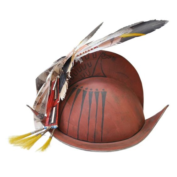 Side view of Conquistador helmet by artist James Little Wounded #Lakota #PraireEdge: