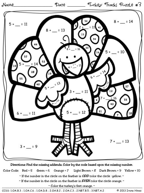 {Turkey Tracks and Feather Facts Math Printables Color By The Code – Thanksgiving Math Coloring Worksheets