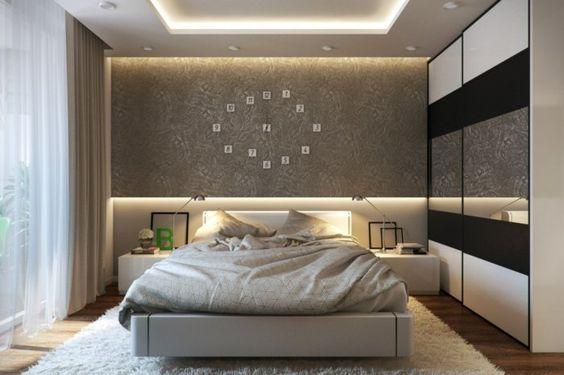 schlafzimmer einrichten beispiele luxuriöse wände wanduhr teppich led lampen