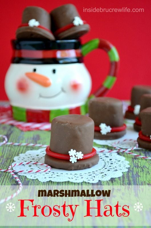 Marshmallow Frosty Hats - chocolate covered marshmallows and cookie.