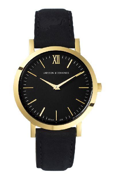 Larsson & Jennings - Black & Gold 33mm Watch by Larsson & Jennings. Swiss Made.
