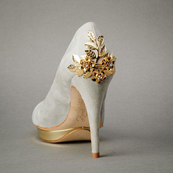 bridgette grey & gold by Harriet Wilde | Wedding Shoes by Harriet Wilde | Bridal Shoes by Harriet Wilde from Arabesque.