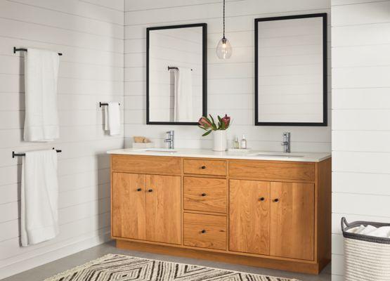 Linear Wood Base Bathroom Vanity Cabinets Modern Bathroom
