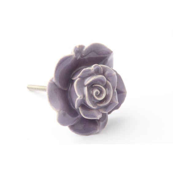 Buy Purple Rose Drawer Knob - French Grey Interiors