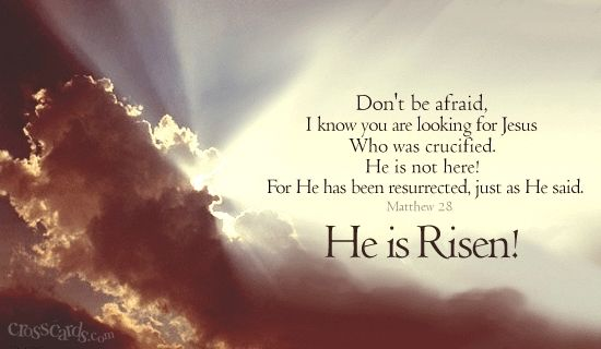 Happy Easter everyone.  He is Risen!  I wish you all a blessed day as we celebrate the sacrifice that our one and living God gave to us, his son Jesus Christ.  Praise the Lord for His love and mercy.: