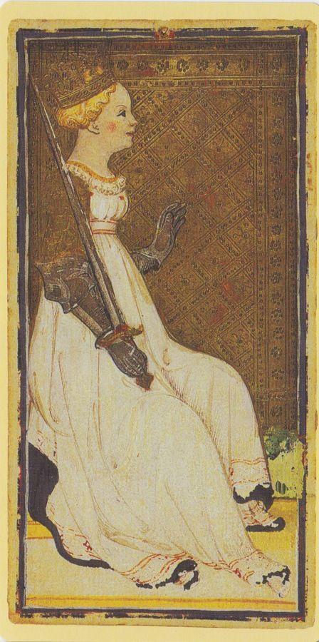 Queen of Swords -- Pierpont Morgan Visconti Sforza Tarocchi Deck, Italy, Milan, ca. 1450: