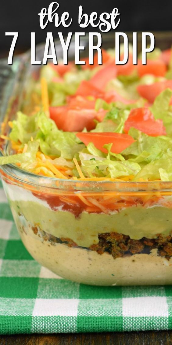 The Ultimate 7 Layer Dip Recipe Is Packed With Layers Of Cream Cheese Sour Cream Ground Beef And Or B Layered Dip Recipes Seven Layer Dip 7 Layer Dip Recipe