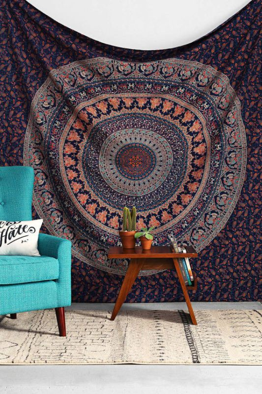 D tails sur hippie tapisserie indienne mandala jet de lit for Decoration murale indienne