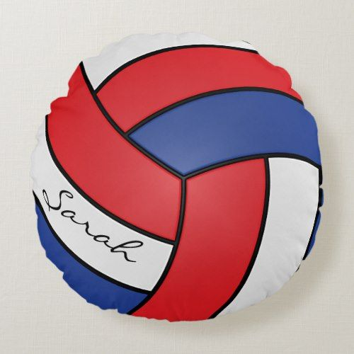 Red White And Blue Volleyball Diy Name Round Pillow Zazzle Com Round Pillow Pillows Baby Nursery Decor