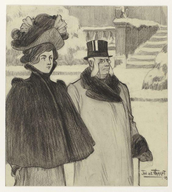 Jan de Waardt | Landeigenaars, Jan de Waardt, 1899 | Links een jonge dame met hoed en grote cape, rechts een oudere heer met witte bakkebaarden, bril, hoge hoed en wandelstok. Achter hen struiken, stoeprand, trap en ballustrade, alles besneeuwd. Opschrift keerzijde: landeigenaars. Gesigneerd; r.o.: JAN DE WAARDT. Gedateerd; r.o.: 99.