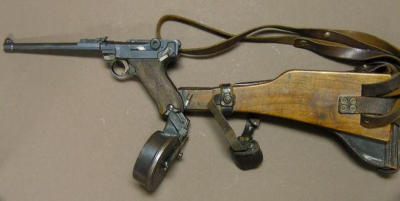 Artillery Luger 9mm Pistol/Carbine, w/Holster/Stock & Trommel-Mag...