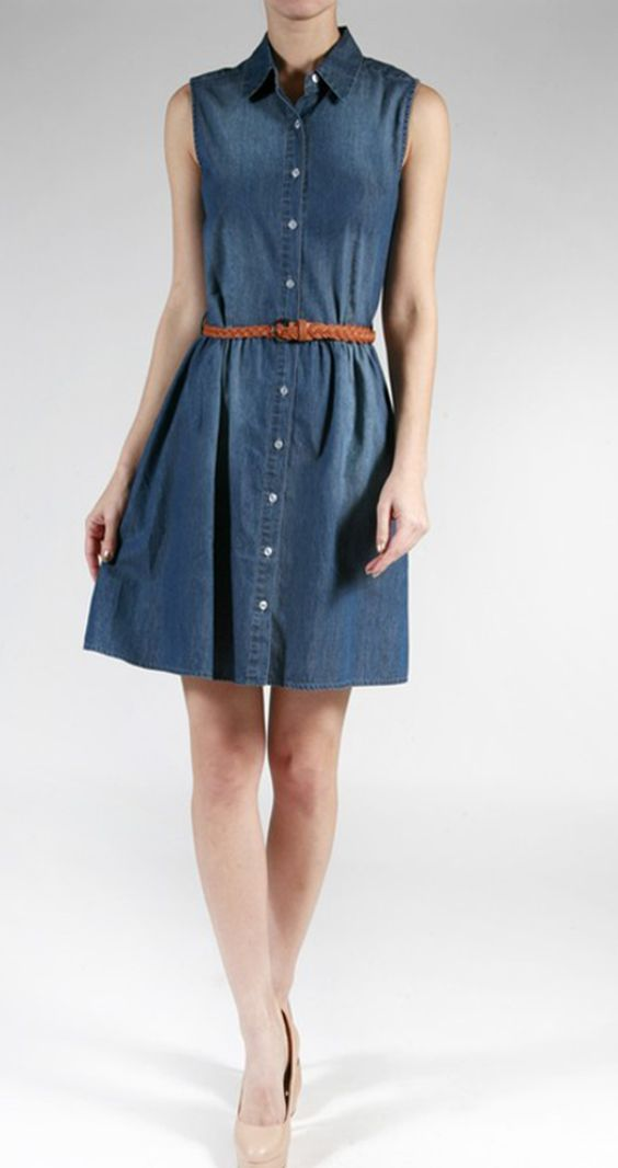 Sleeveless Denim Belt Dress
