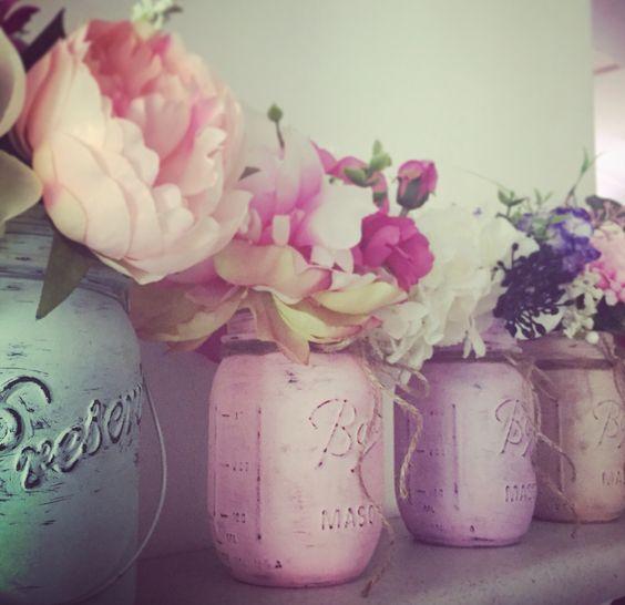 My diy painted mason jars.  Love love making these!