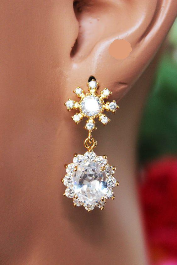 Gold Crystal Drop Wedding Earrings CZ Crystal by AuroraJewelryBox
