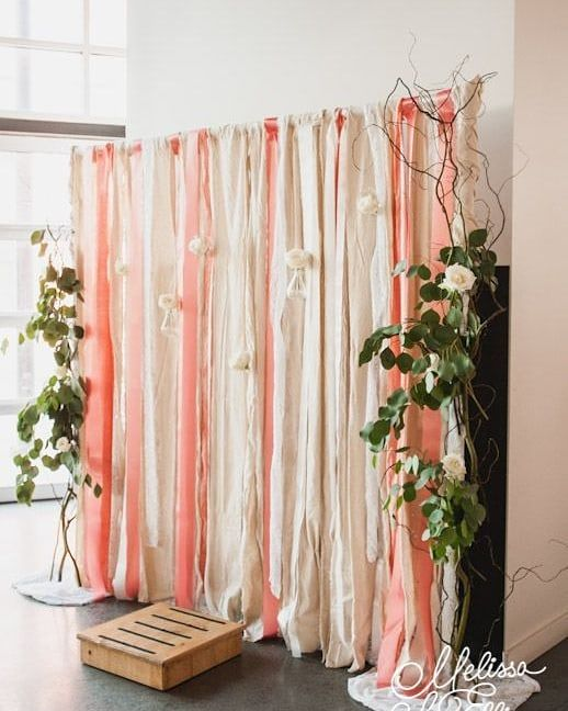 Gorg Fabric Branch Pieces Complete This Delicate Backdrop Rentmyphotobooth Photo Via Melissaliuellisphotog Ribbon Wall Wedding Backdrop Wedding Photo Booth