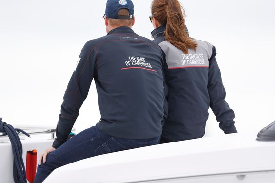 HRH The Duke and Duchess of Cambridge wear Official Land Rover BAR merchandise by Henri Lloyd when watching the Americas Cup racing on Super Sunday