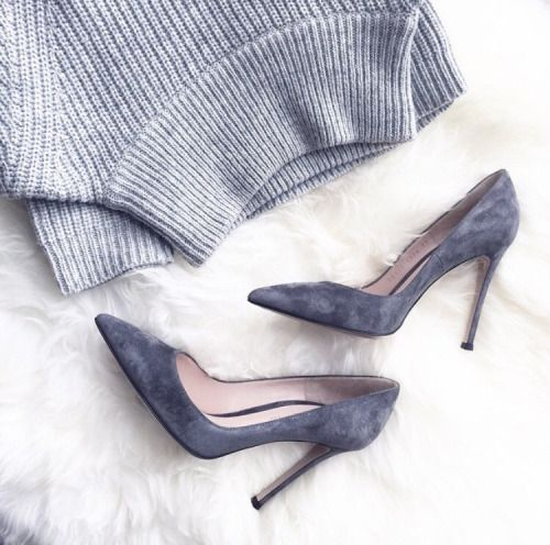 Grey suede pumps and a grey sweater. The perfect fall outfit.