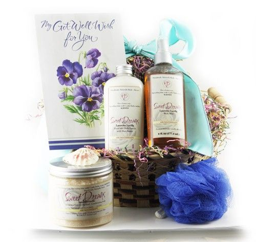 Castle Baths - Get Well - Sweet Dreams Spa Gift - Lavender Vanilla - Brighten someone's day with Castle Baths' Get Well Sweet Dreams Spa Gift Set. This ornately packaged combination of handmade bath salts, hand lotion, and body mist is sure to help boost the spirits of someone who is not feeling well. Scented in Castle Baths' Classic Sweet... - http://giftbasketblessings.com/product/castle-baths-get-well-sweet-dreams-spa-gift-lavender-vanilla/