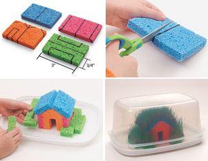 Cute directions for a little grass house on sponges :-)  Directions are in Portugese  Casinha ecológica feita com esponja | Pra Gente Miúda