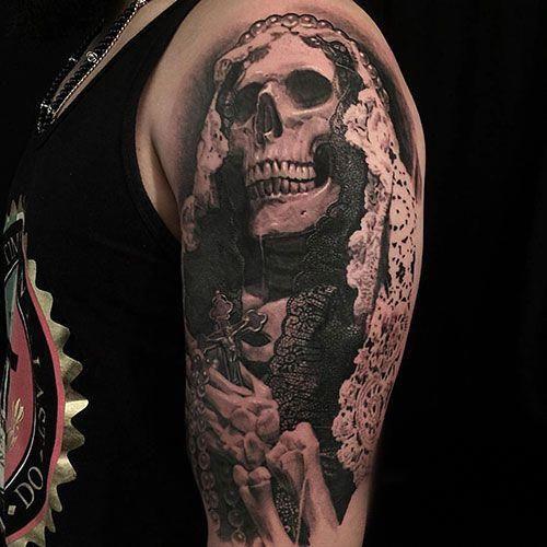 Cool Skull Half Sleeve Tattoo Designs Best Skull Tattoos For Men Cool Skull Tattoo Designs And Ideas For Gu Ankle Tattoo Small Skull Tattoo Tattoos For Guys