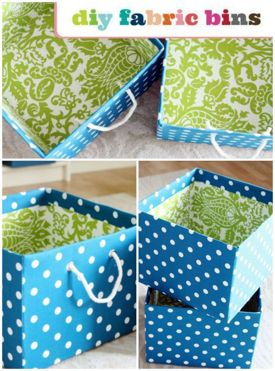 Step-by-Step How To Cover Storage Boxes in Fabric.