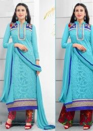 Casual Wear  Georgette Sky Blue Printed Churidar Suit