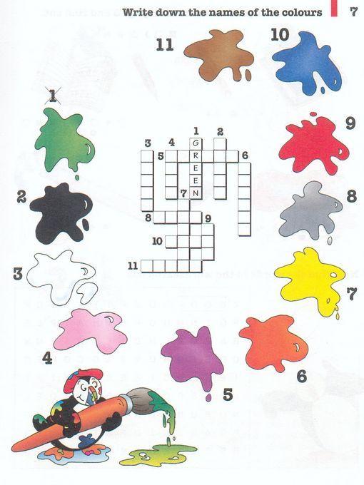 Actividad: Escribe los nombres de los colores en inglés, en el lugar indicado por el número.