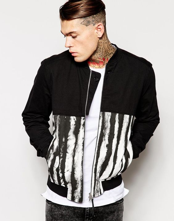 Stephen James Religion Cut and Sew Printed Bomber Jacket