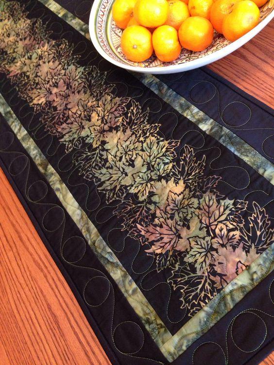 Hand Dye & Batik Leaf Green Black Table Runner by derstinedesigns on Etsy https://www.etsy.com/listing/218638679/hand-dye-batik-leaf-green-black-table