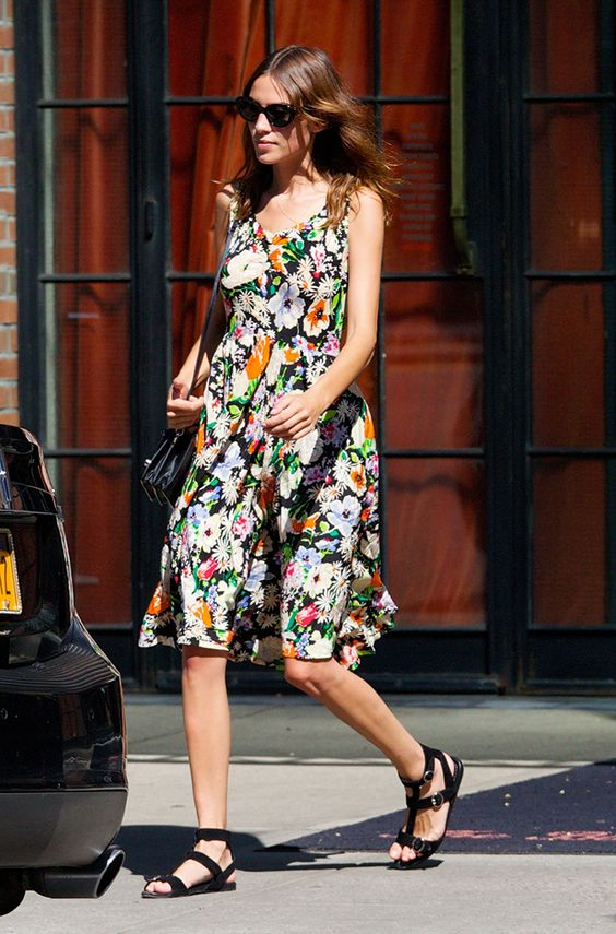 Surprise! Alexa Chung Is Launching her own Fashion Line | Browse 20 street style looks that epitomize Chung's quirky-cool, boy-meets-girl style | @stylecaster | Flow-y floral dress + sandals for summer